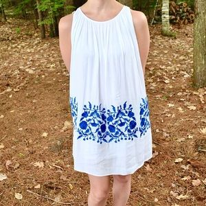 Chicwish white dress with blue embroidery
